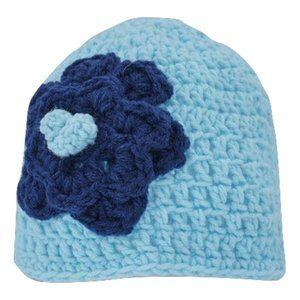 🆕Hand-Crocheted Light Blue & Navy Blue Flower Hat